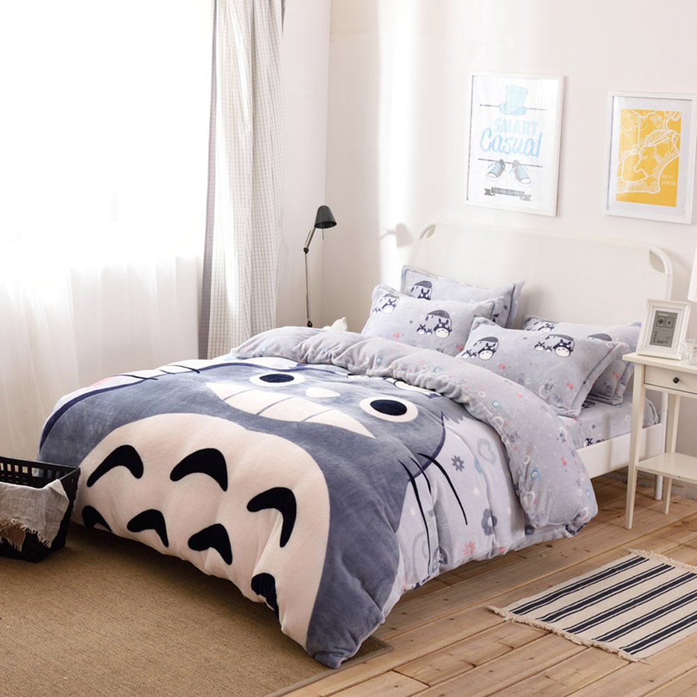 Sport do Winter New! My Neighbor Totoro Thicken Flannel 4 Pieces Bedding Set Cartoon Totoro Warm Duvet Cover Sets Totoro Bed Sheets Full Size