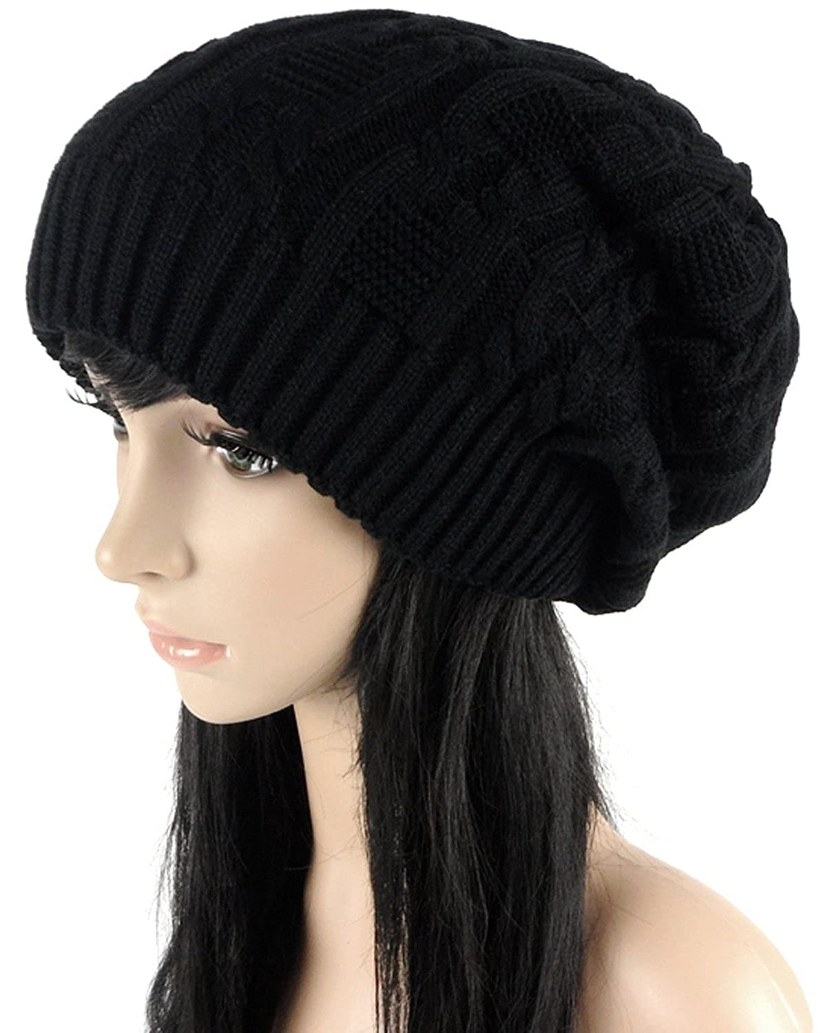 f90a6546822e47 Amazon.com: Ls Lady Thick Slouchy Knit Oversized Beanie Cap Hat Winter  Warmming Cap Black: Clothing