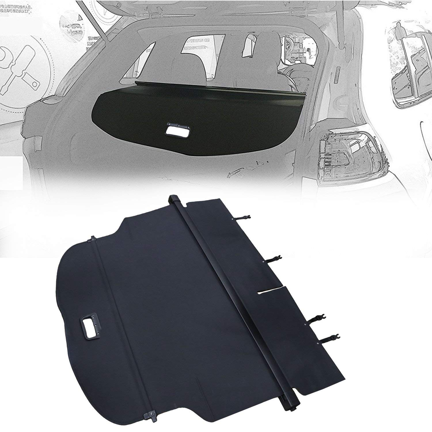 Black,Grand Cherokee Opall Retractable Rear Trunk Cargo Luggage Security Shade Cover Shield for 2011-2018 Jeep Grand Cherokee