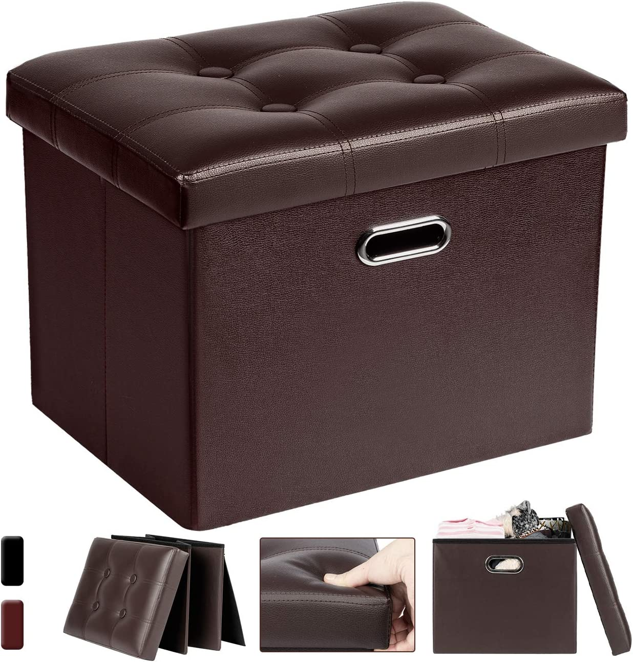 COSYLAND Folding Storage Ottoman Seat Leather Footstool Toy Storage Box Bedroom Foot Stool Toy Chest Shoe Bench Space Saving Boxes 43 x 33 x 38cm Coffee