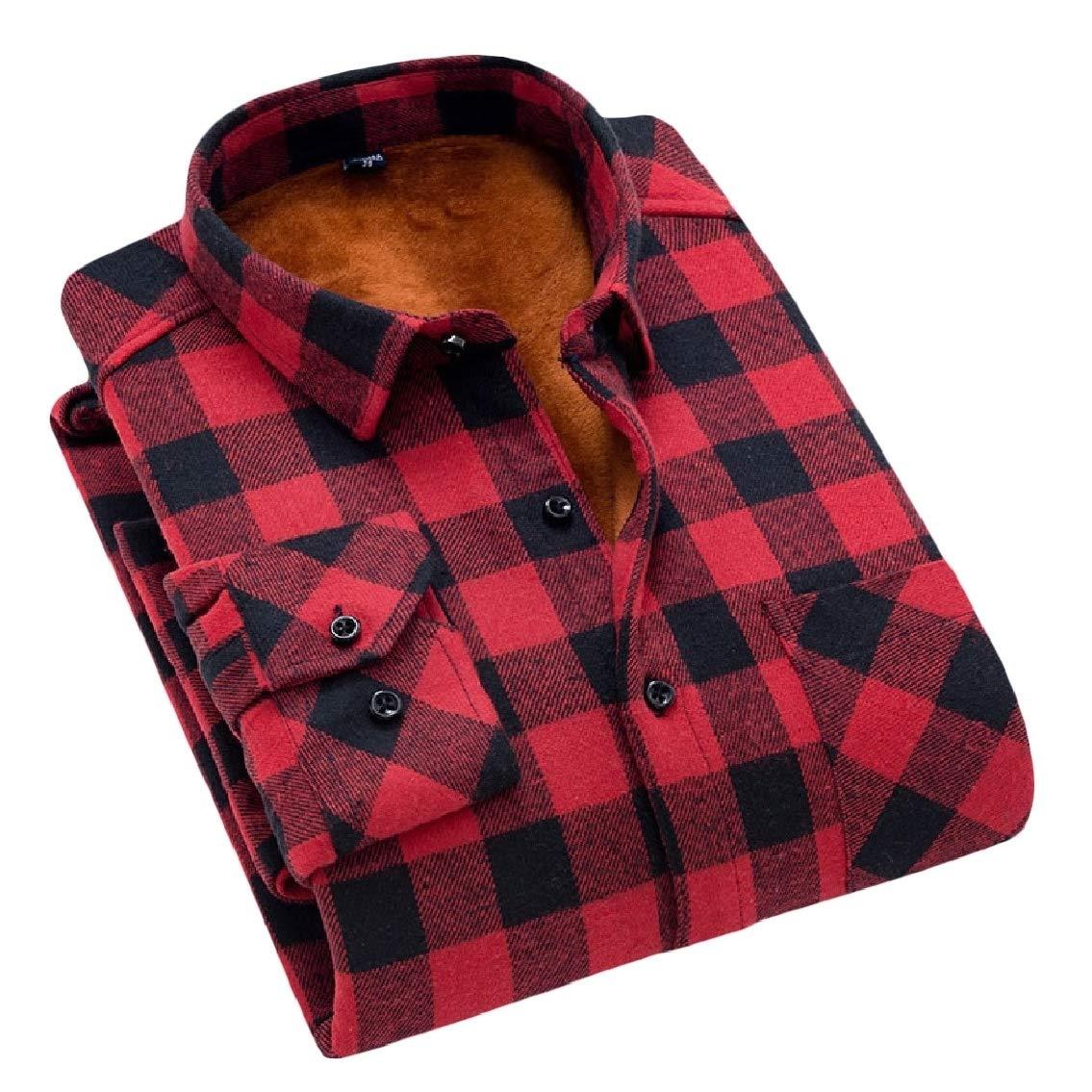 FreelyMen Autumn Winter Trim-Fit Casual Thick Flannel Plaid Warm Shirt