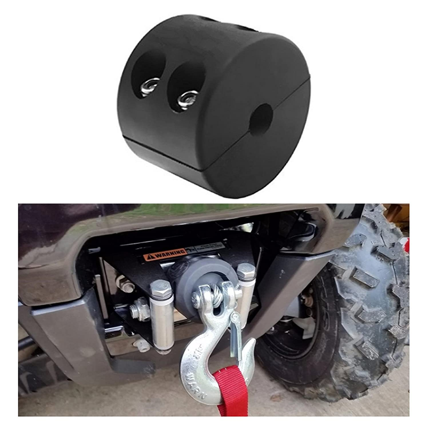 Reusious Rubber Winch Cable Hook Stopper for ATV UTV, Black Heavy Duty Line Saver with Allen Wrench (BALCK)