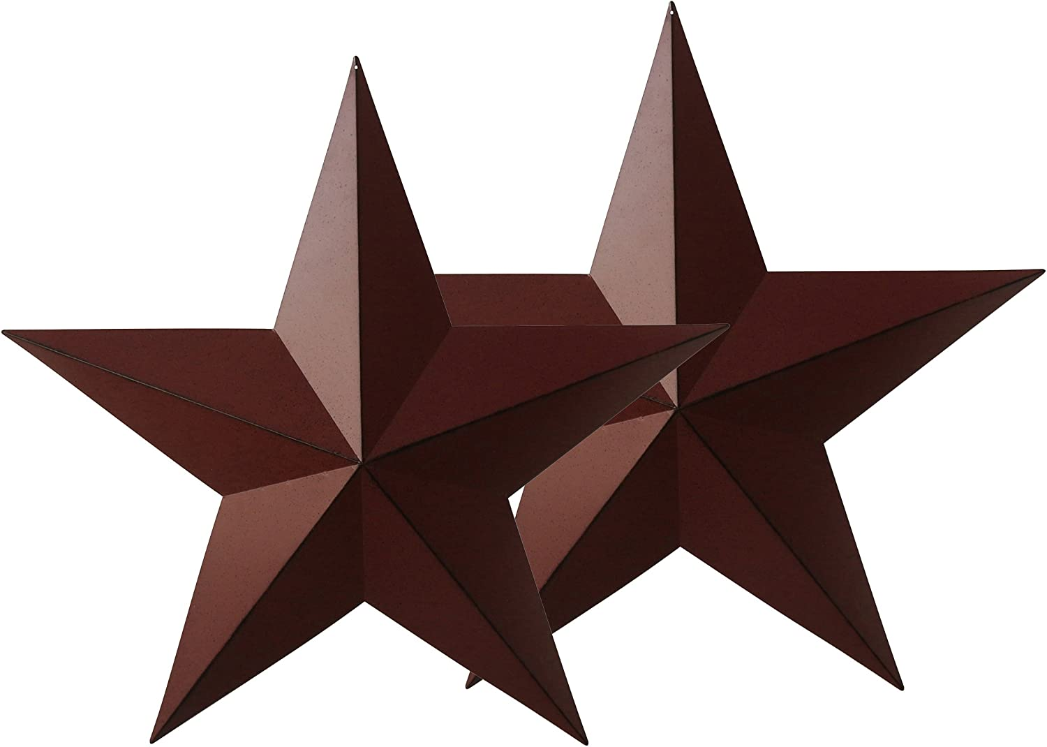CVHOMEDECO. Country Rustic Antique Vintage Gifts Burgundy/Black Metal Barn Star Wall/Door Decor, 24-Inch, Set of 2.