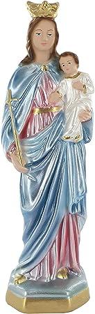 La imagen es de yeso y está pintada a mano,María Auxilio de los Cristianos es un título antiguo dado