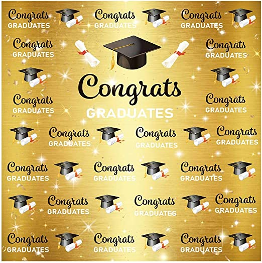 Congrats Graduates Backdrop 10x6.5ft Class of 2019 Polyester Photography Background Trencher Hat Grad Cap Diploma Streamer Confetti Grey College Graduation Ceremony Party Poster Studio Photo Prop
