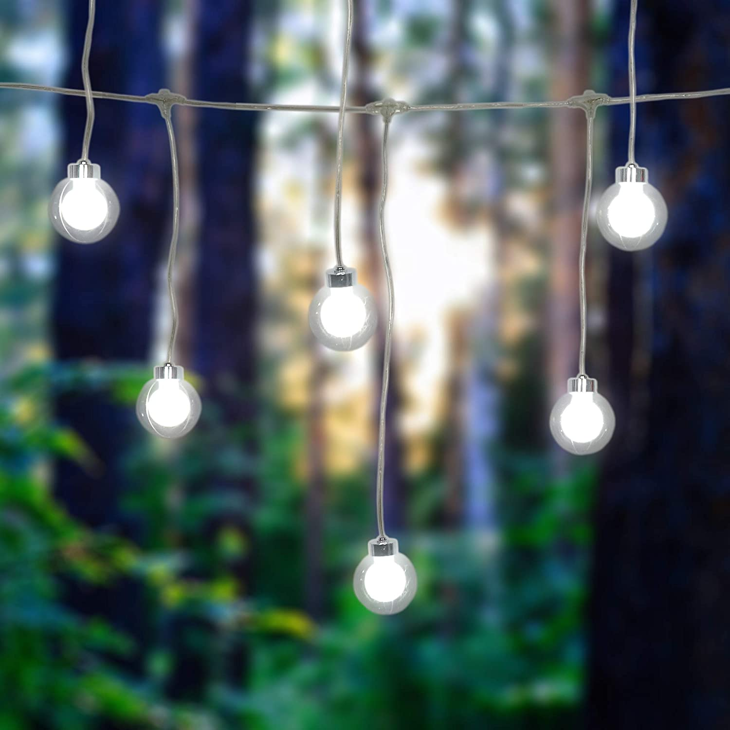Beewin 16.4Ft G40 Globe String Lights with 8 Double Balls for Indoor/Outdoor Commercial Decor, Outdoor String Lights Perfect for Patio Backyard Porch Garden Pergola Market Cafe BBQ Tents (Cool White)