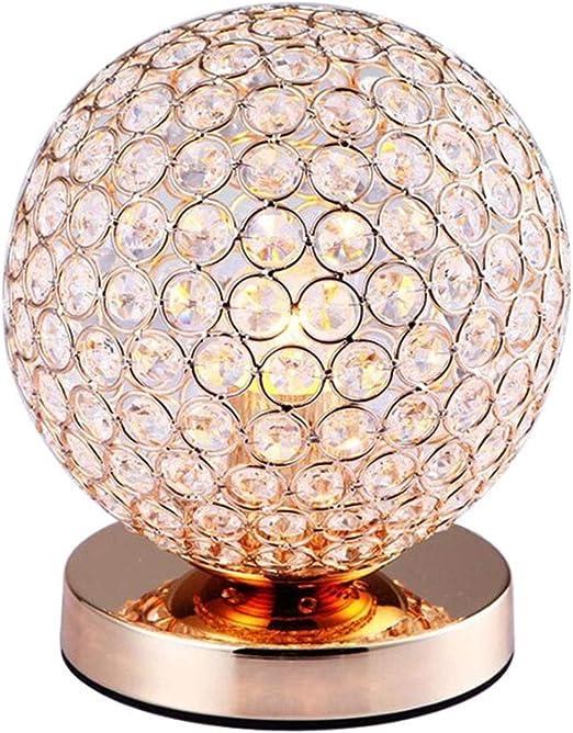 RXM Balón de Oro de Cristal Lámparas de Mesa Base de Cama de Metal ...