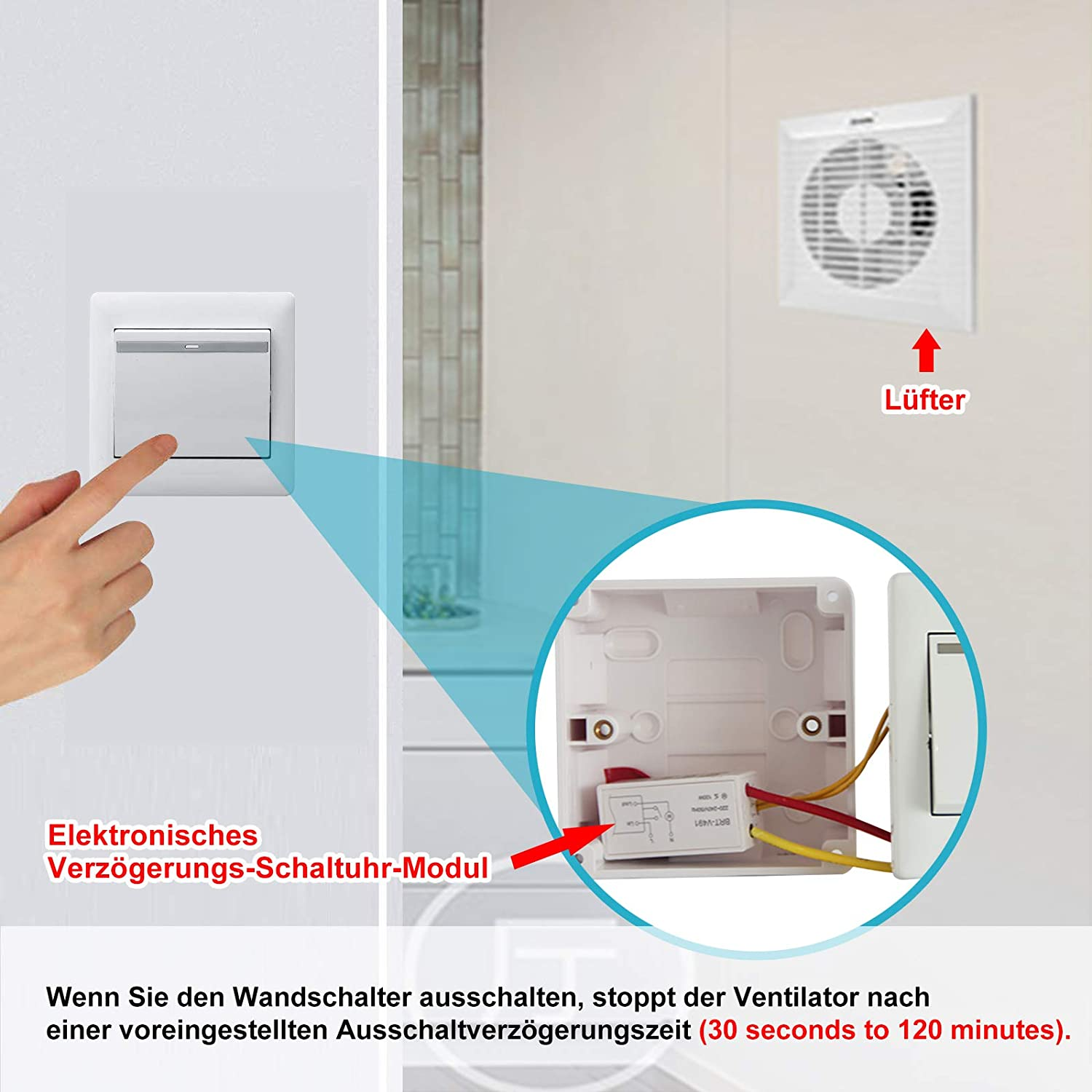 TSSS Bathroom Fan Time Switch Energy Saving Adjustable Time Relay Maximum 120 Minutes Delay Switch 220V AC Only for Kitchen Bathroom Fan Mini Size 45 X 22 X 17mm