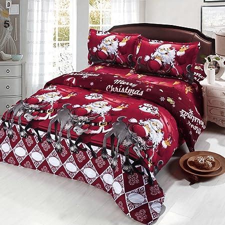 Christmas Bedding.Anself 4pcs 3d Printed Cartoon Merry Christmas Bedding Set 1 Duvet Cover 1 Bed Sheet 2 Pillowcase
