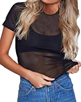 Mangopop Women's Clubwear Sheer Long Sleeve Pure Mesh Tops Tee Blouse