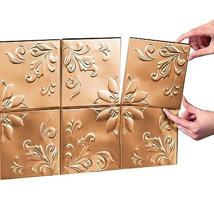 Amazon.com: Tin Peel & Stick Raised Floral Pattern Backsplash ...
