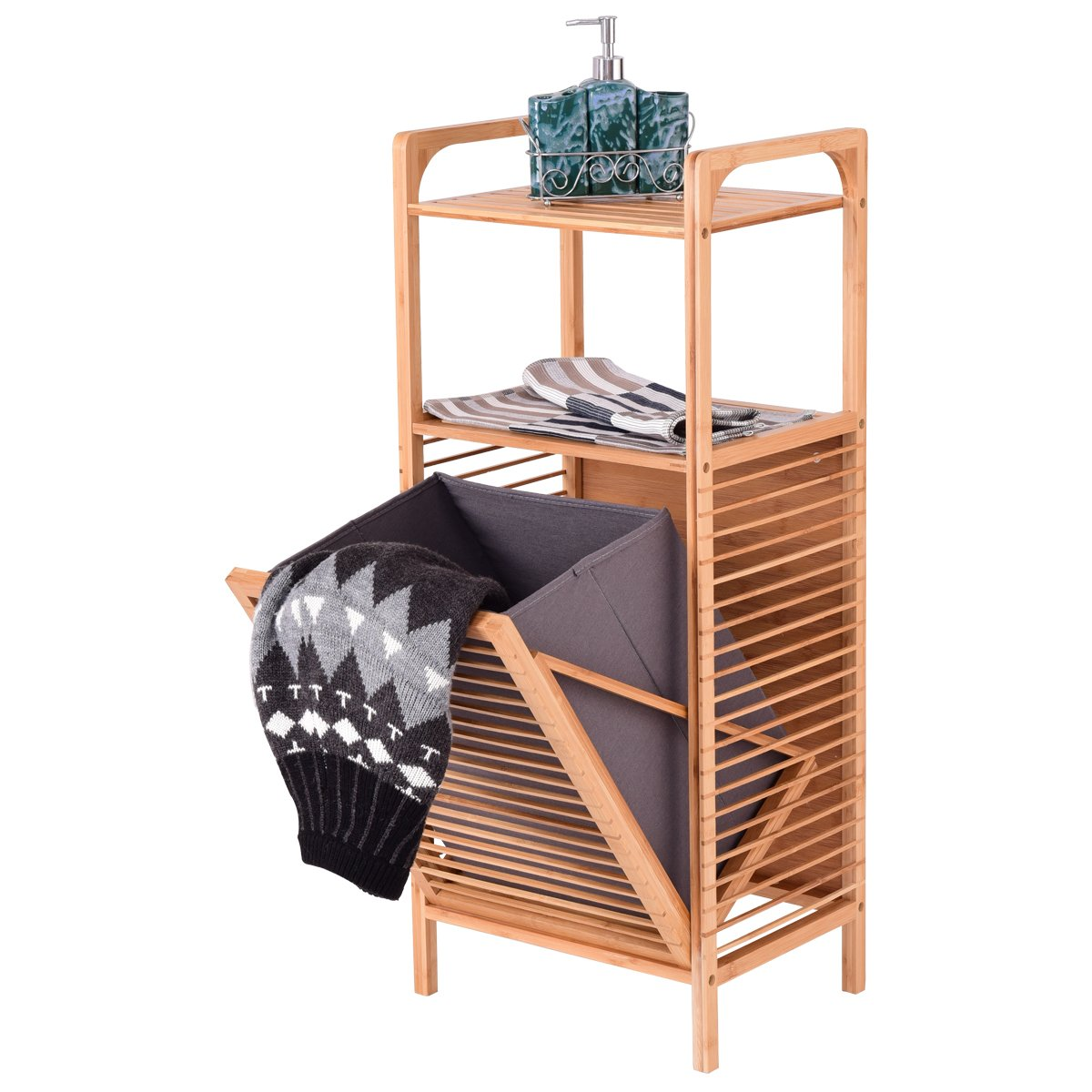 Giantex Tilt-Out Bamboo Laundry Hamper Slat Frame Space Saving Storage with Shelf & Removable Liner, Perfect for Bathrooms & Spas