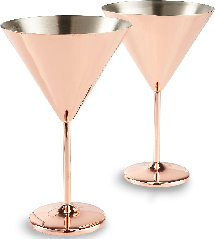 Amazon Com Vonshef Copper Martini Cocktail Glasses Stainless Steel Set Of 2 16oz Glasses With Gift Box Martini Glasses