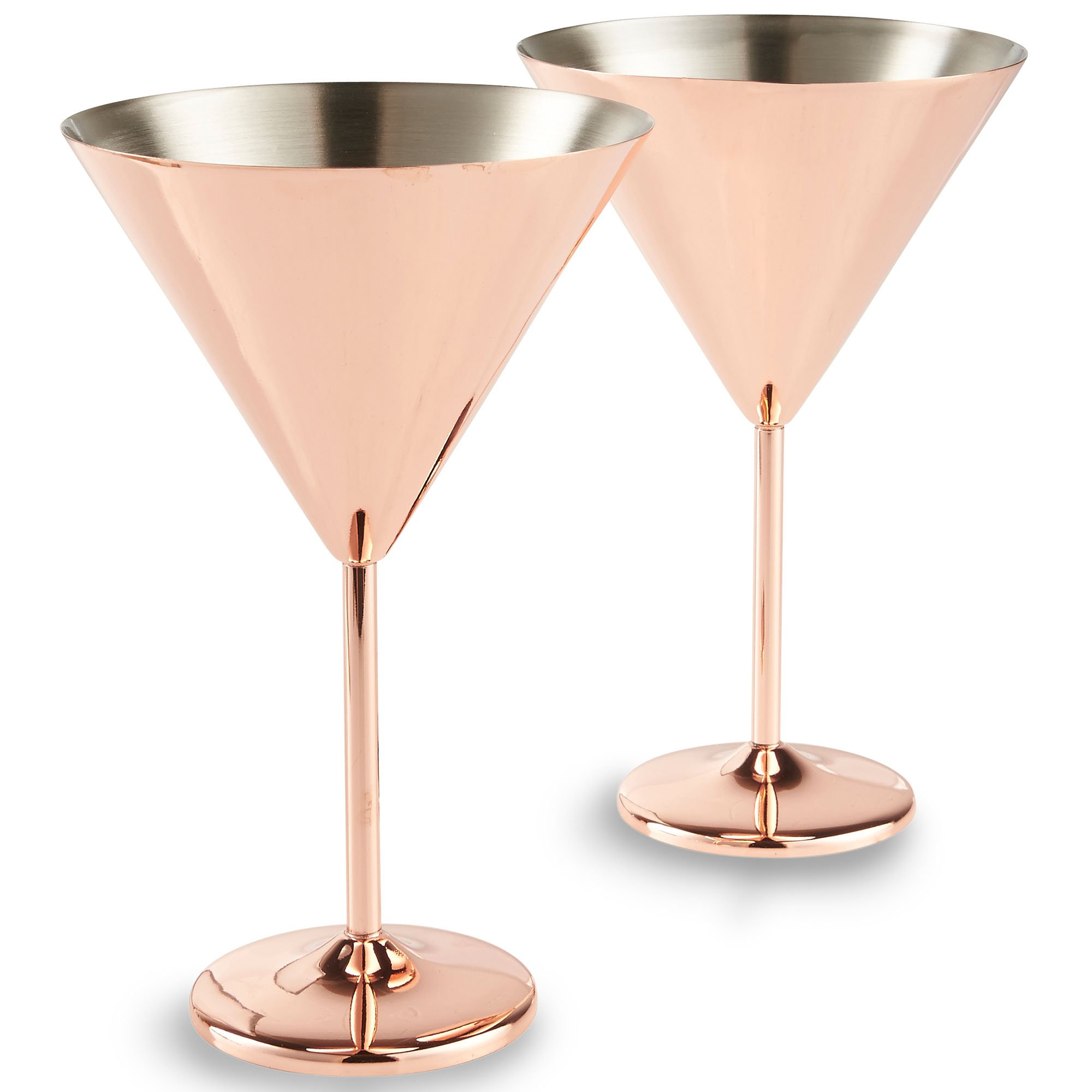 VonShef 16oz Copper Martini Cocktail Glasses, Stainless Steel, Set of 2 16oz Glasses with Gift Box