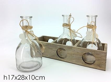 Portafiori in legno con 3 bottiglie in vetro fiore bianco ...