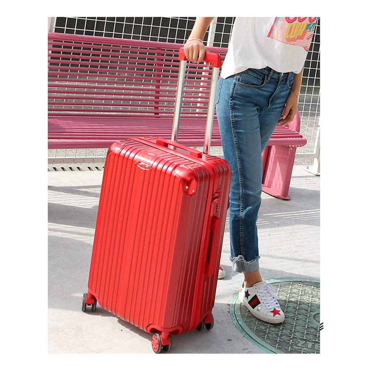 Silver Trolley case 20//22//24 inch Best Gift Travel Organizer Color : Red, Size : 22 Bahaowenjuguan Hard Rotating Luggage Carry-on Luggage