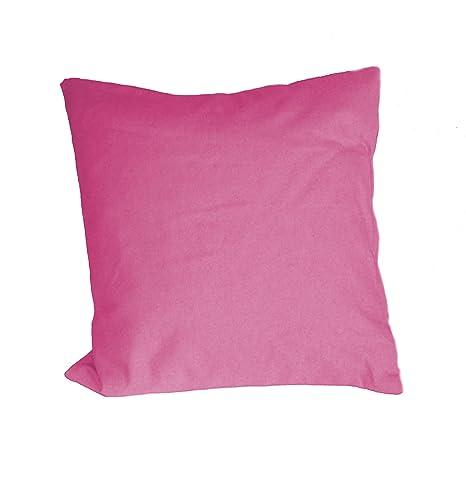 PAMEX - 2 Fundas de Cojín con Cremallera Colores Lisos 45x45 (Rosa)