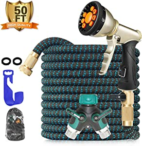BLAVOR Expandable Garden Hose 50ft Flexible Lightweight Water Hose Strongest Expanding Hose with 10-Way Heavy Duty Zinc Water Spray Nozzle & 2-Way Splitter [ 2019 New Upgraded ]