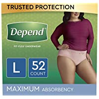 Depend FIT-FLEX Incontinence Underwear for Women, Disposable, Maximum Absorbency...