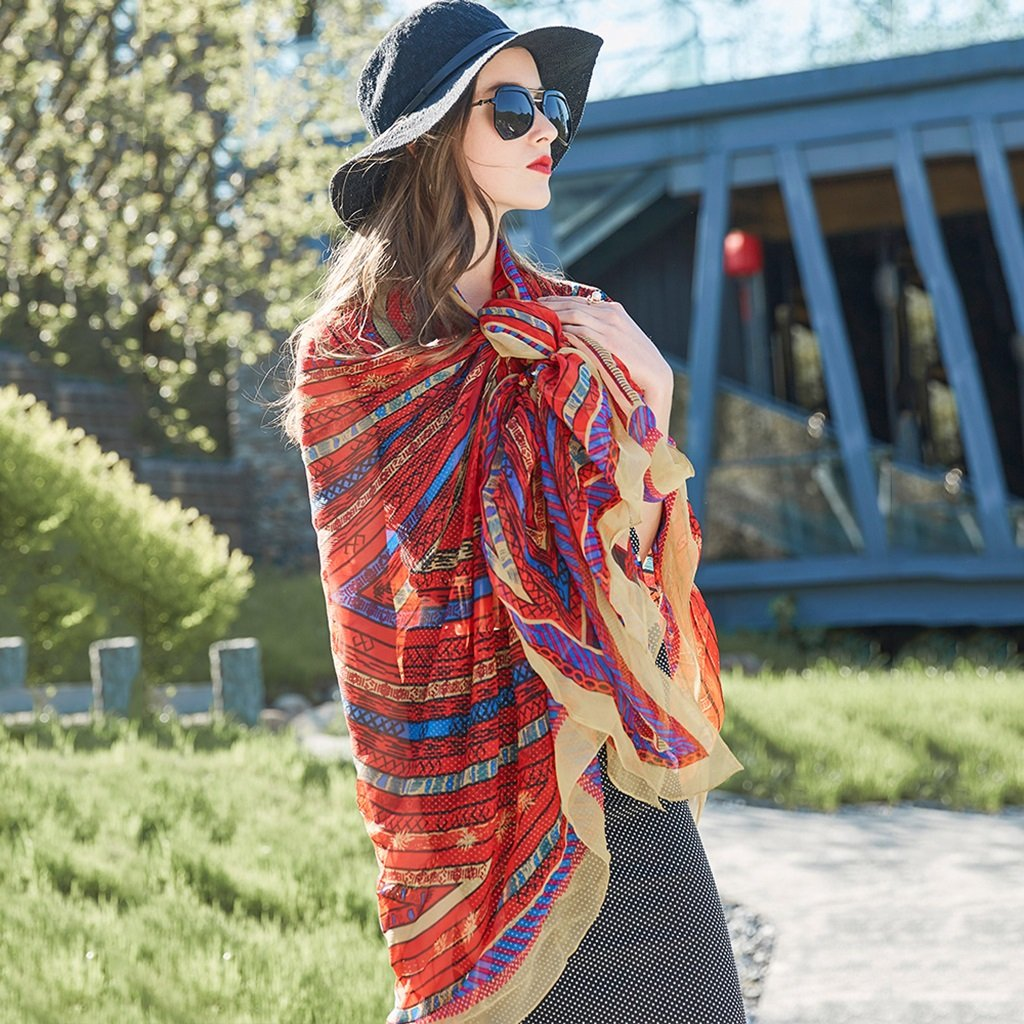 Women's Oversized Sunscreen Shawl Summer Travel Beach Towel Silk Scarf 96.4*43.3 inches (Color : Blue) Brilliant firm