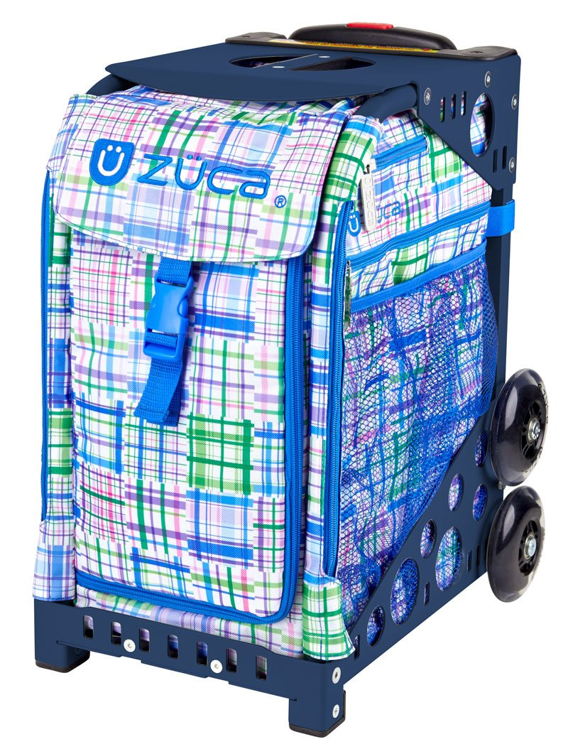 Zuca Berry Patch Sport Insert Bag and Navy Blue Frame with Flashing Wheels