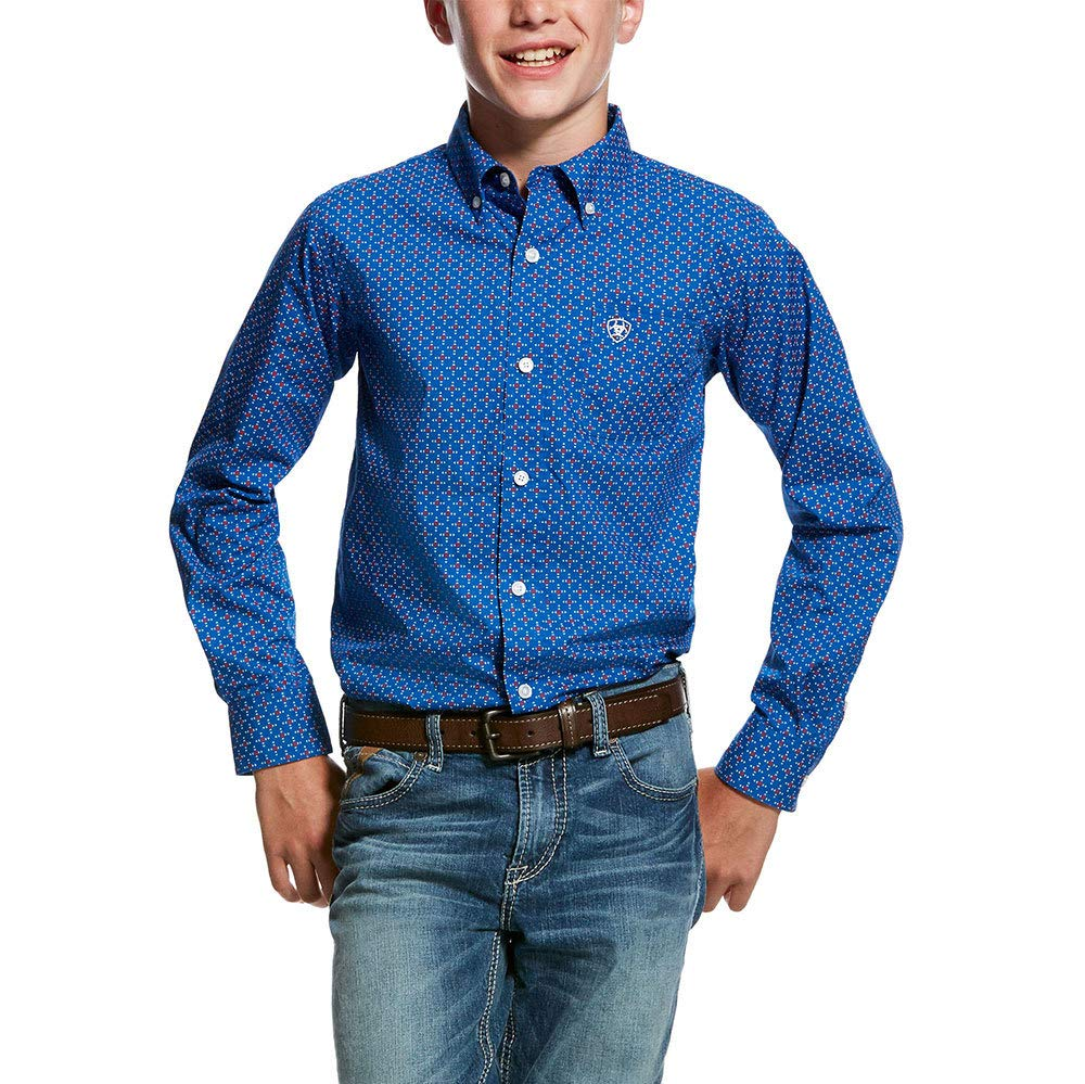 ARIAT Boys' Ohlinger Geo Print Long Sleeve Western Shirt Blue Large