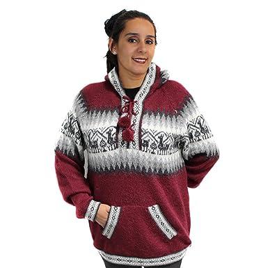 101f44ed4 CELITAS DESIGN Sweater Hoodie V Neck Pockets Alpaca Blend Unisex Made in  Peru Large Burgundy