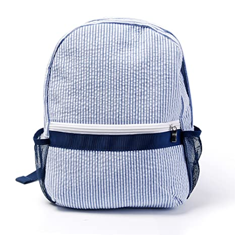 f2afd392bc06 Amazon.com  Mright 2-5 Years Personalize Seersucker Backpack Toddler  Backpack Preppy Kids School Bookbag (Navy)  Toys   Games