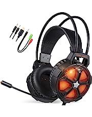 EasySMX Auriculares para Videojuegos, Cool 2000 cómodos Auriculares estéreo para Juegos con micrófono y Control de Volumen, para PC/Mac/Nueva Slim Xbox One/PS4/Smartphone [2019 Edition]
