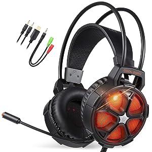 EasySMX Cascos Gaming, Cool 2000 Auricular Estéreo, Auriculares Gaming con...