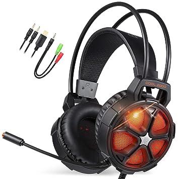EasySMX Auriculares para Videojuegos, Cool 2000 cómodos Auriculares estéreo para Juegos con micrófono y Control de Volumen, para PC/Mac/Nueva Slim ...