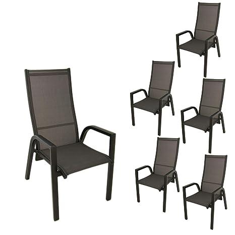 Edenjardi Pack 6 sillones de terraza, Apilable, Reclinable ...