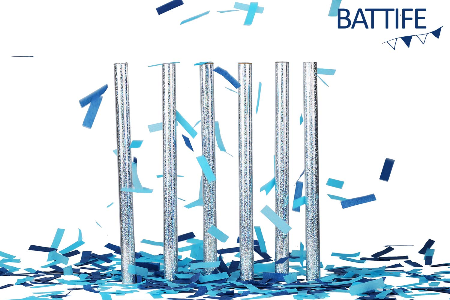 Battife Confetti Sticks 6Pack Blue Biodegradable Tissue Paper Confetti Flick Flutter Wands for Birthday Party Wedding - Blue 14inch by BATTIFE (Image #3)