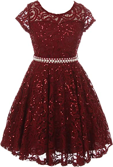0abbaae4f52 Flower Girl Dress Cap Sleeve Sequin Skater Lace Dress Pearl Belt for Little Girl  Burgundy 4