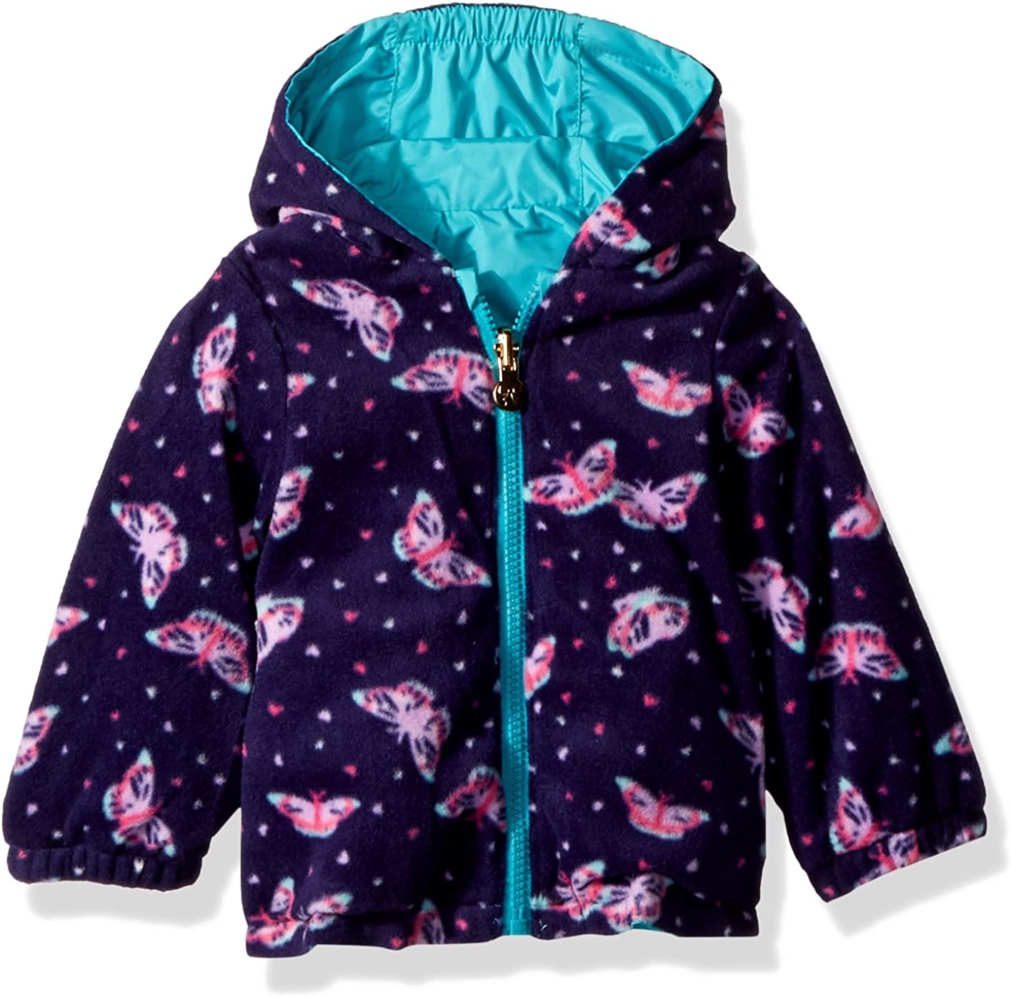 London Fog Baby Girls Reversible Sensible /& Soft Jacket Coat