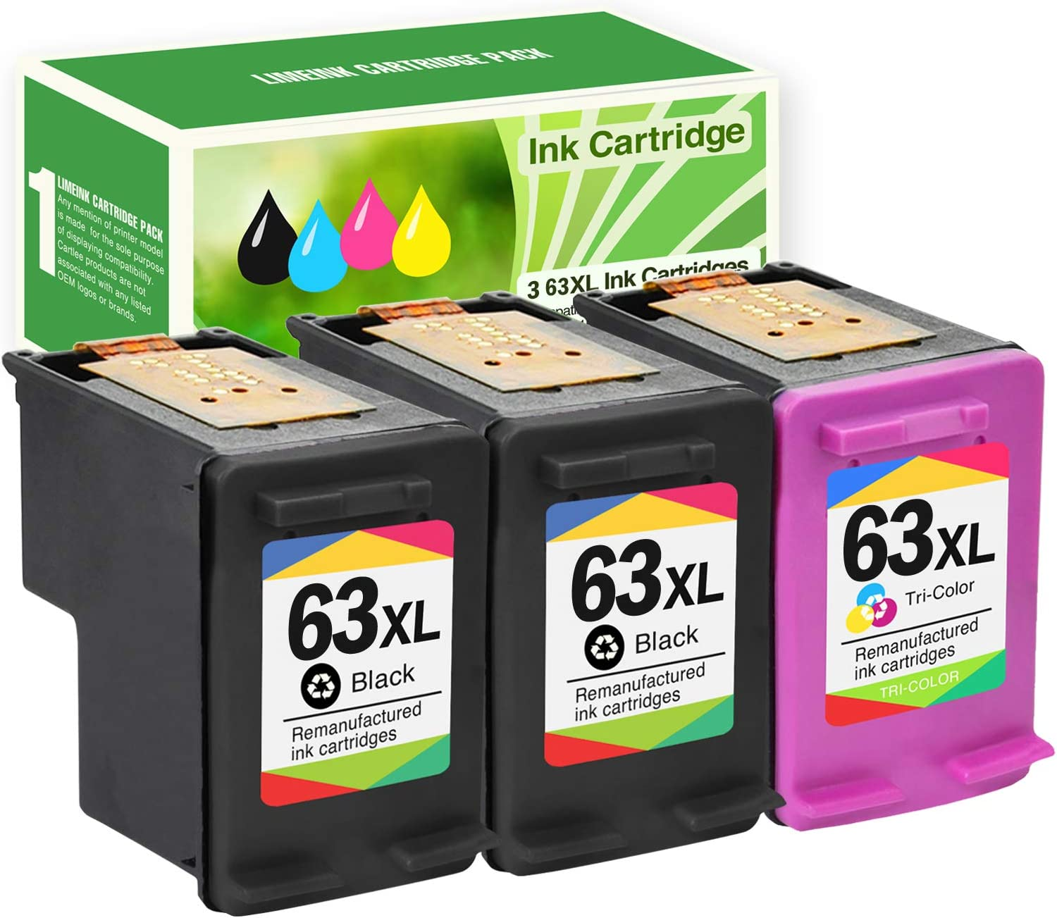 Limeink 3 Remanufactured Ink Cartridge 63XL 63 XL High Yield for HP Envy 4512 4520 Deskjet 3632 2130 2132 1110 3636 3637 1112 3630 3634 OfficeJet 3830 3833 4650 4652 4655 5255 5258 Printer Black Color