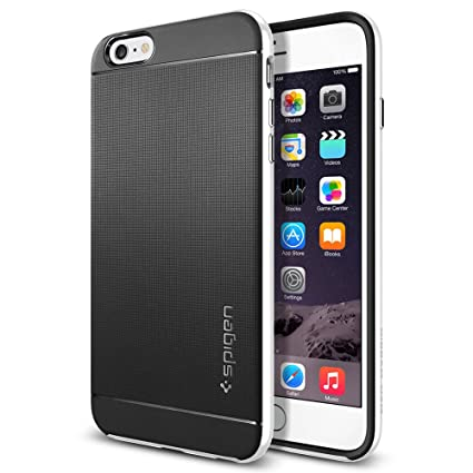 iPhone 6 Plus Case, Spigen® **[Revised Button]** [METALLIZED BUTTONS] iPhone 6 Plus (5.5) Protective [Neo Hybrid Series] [Infinity White] Bumper Case Slim Fit Dual Protection Cover for iPhone 6 Plus  at amazon