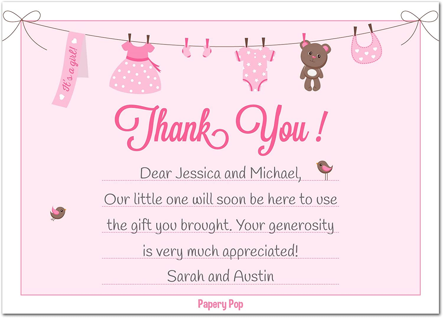 Amazon 30 Baby Shower Thank You Cards For Girls With Envelopes