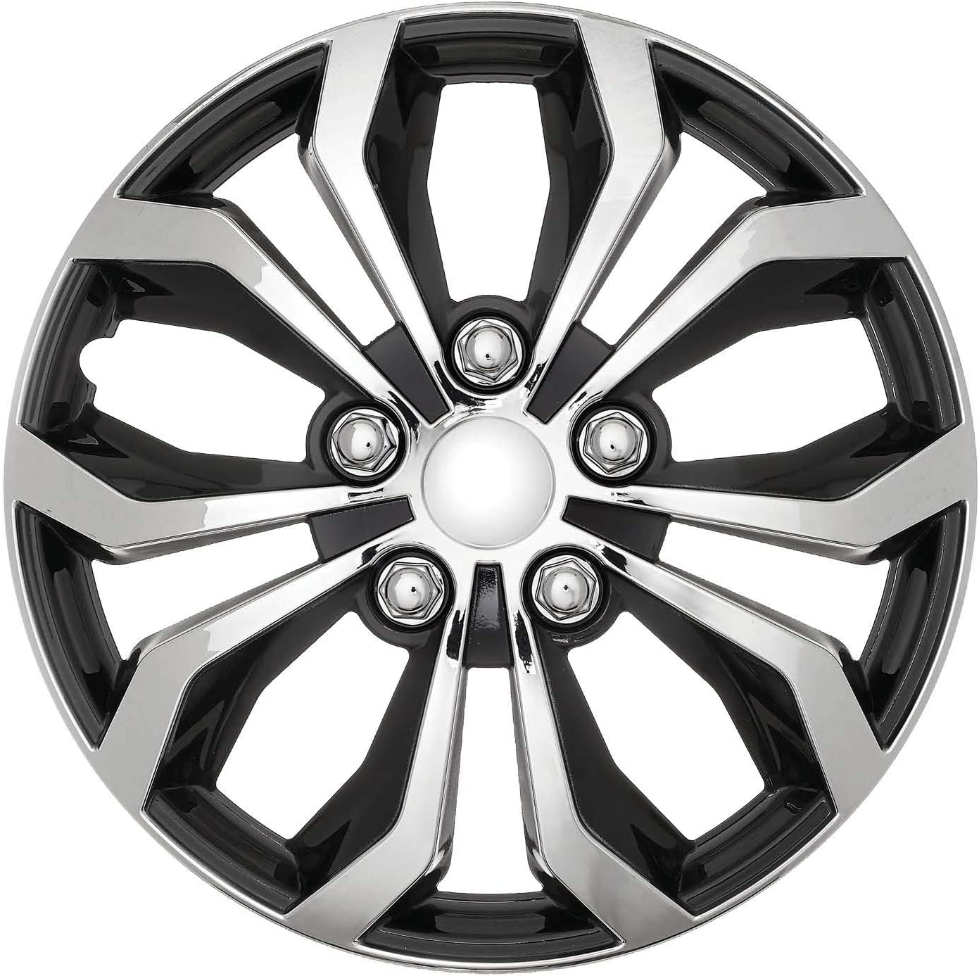 """Set of 4 Hubcaps 17 Swiss Drive Wheel Cover /""""SPA/"""" Chrome and Black ABS Easy to Install Universal"""