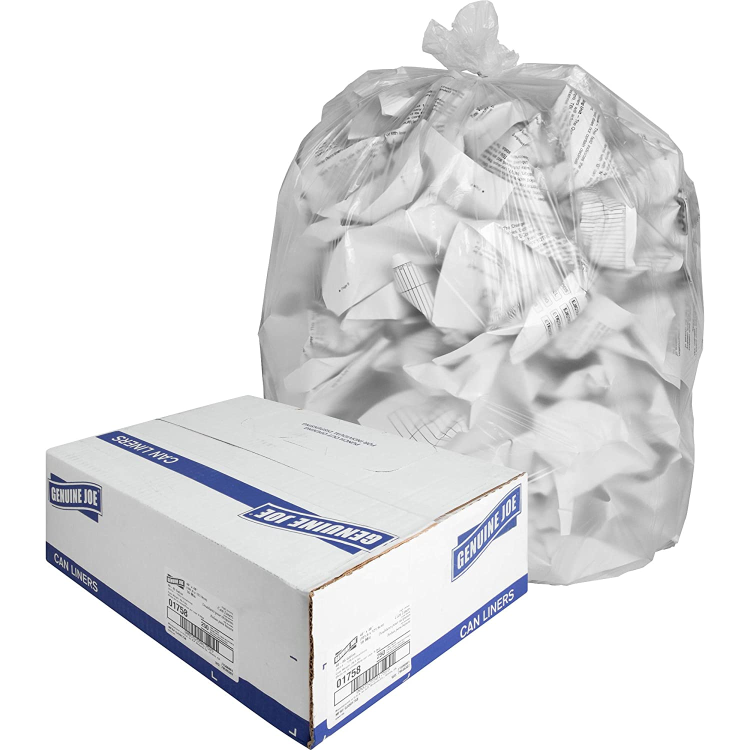 """Genuine Joe GJO01758 High-Density Trash Can Liner, 45 Gallon Capacity, 48"""" Length x 40"""" Width x 0.63 mil Thickness, Clear (Case of 250)"""