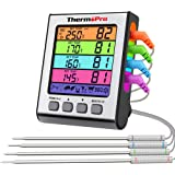 ThermoPro TP17H Meat Thermometer for Grilling and Smoking with 4 Temperature Probes for Beef Turkey Candy Deep Fry BBQ Gill C
