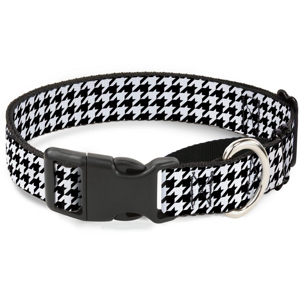 Buckle-Down Houndstooth Black White Martingale Dog Collar, 1  Wide-Fits 15-26  Neck-Large