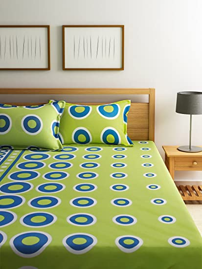 Home Ecstasy 100% Cotton Printed Bedsheet Set 3027 (Green, Double)
