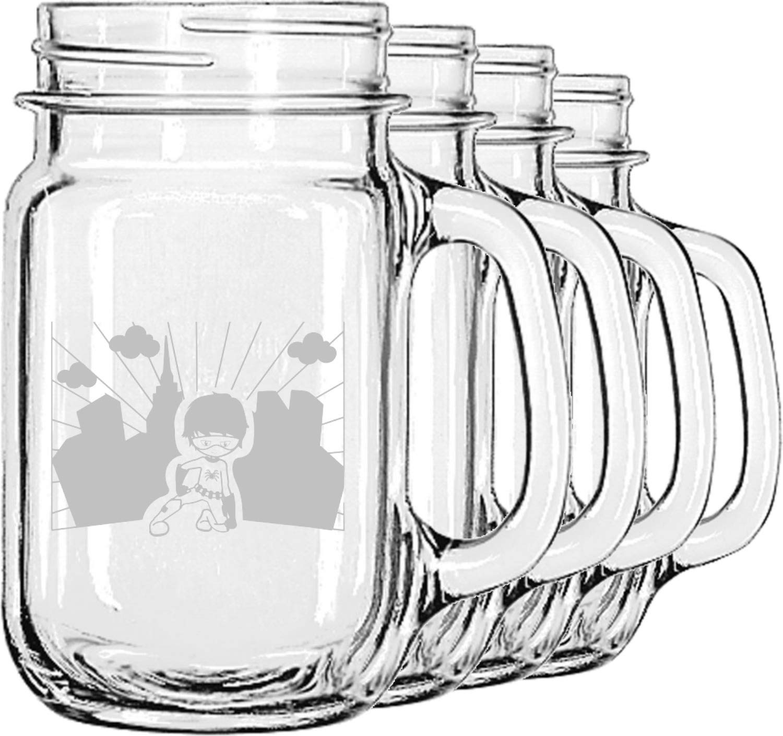 Superhero in the City Mason Jar Mugs (Set of 4) (Personalized)