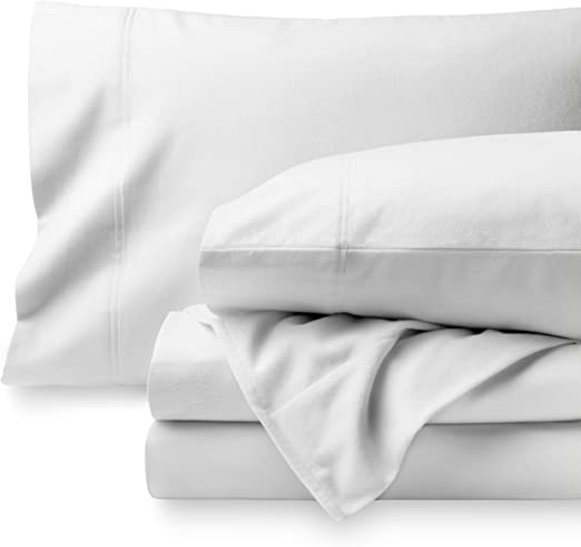 Amazon Com Bare Home Flannel Sheet Set 100 Cotton Velvety Soft Heavyweight Double Brushed Flannel Deep Pocket King White Home Kitchen