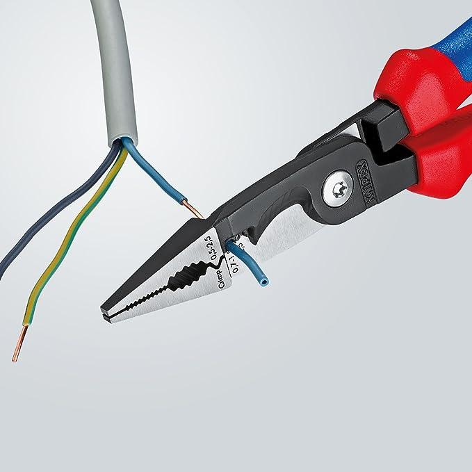 KNIPEX 13 82 200 Alicate para instalaciones eléctricas negro atramentado con fundas en dos componentes 200 mm