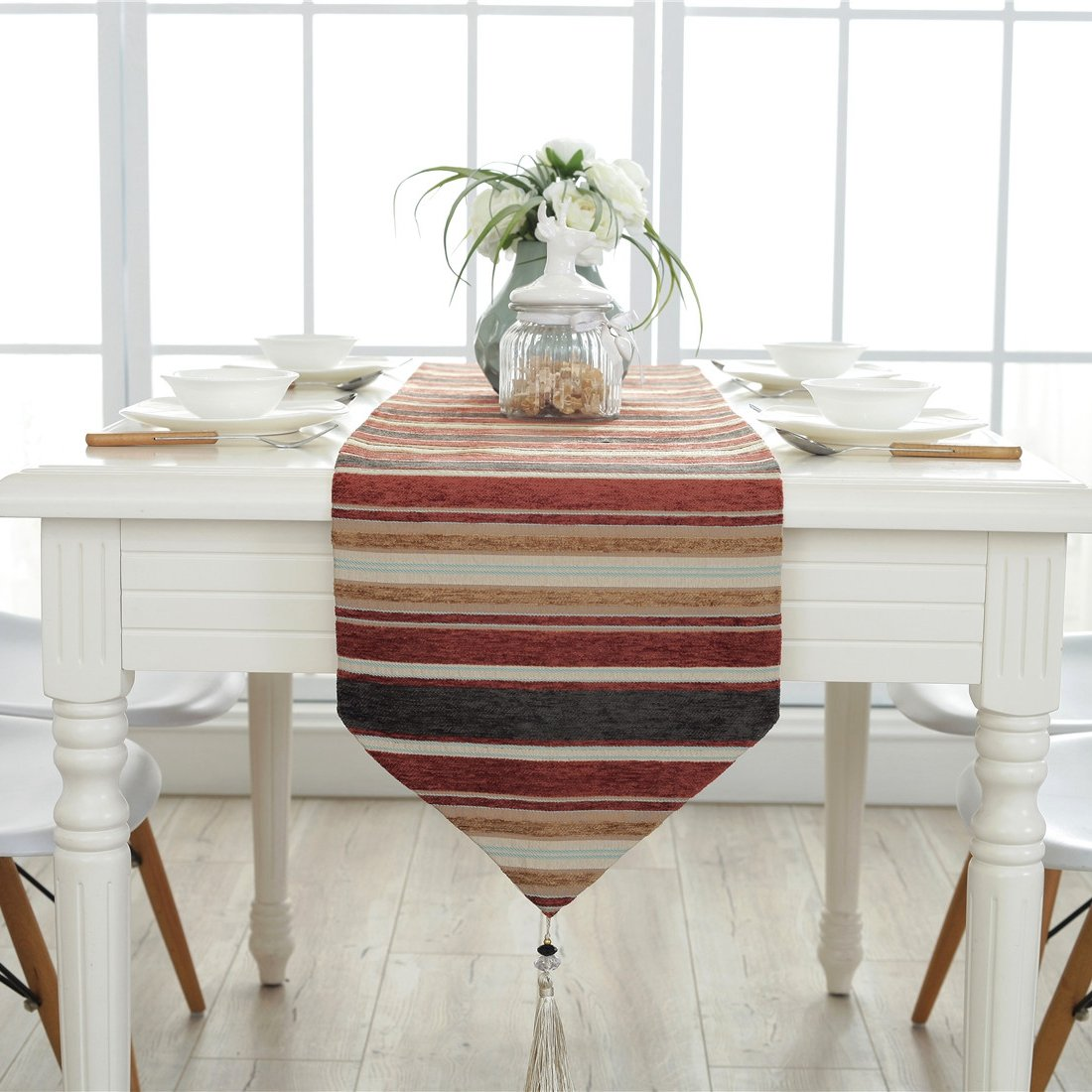 Amazon com ethomes colorful stripes fabric table runner for home outdoor kitchen dining room decor 13 x 82 inches33 x 210cm home kitchen