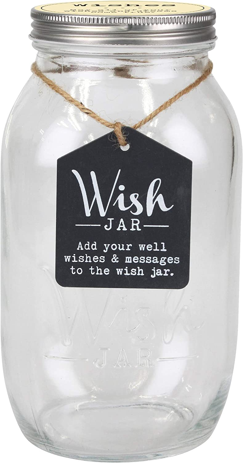 Amazon Com Top Shelf Everyday Wish Jar Kit With 100 Tickets Pen And Decorative Lid Clear Home Kitchen