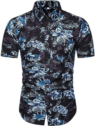 Camisas Hombre Manga Corta Camisas Estampadas De Flores Camisa Delgada Suave Ligero Transpirable Personalidad Hombres Moda Verano Vacaciones Tops Streetwear Casual Shirt Playa Fiesta: Amazon.es: Ropa y accesorios