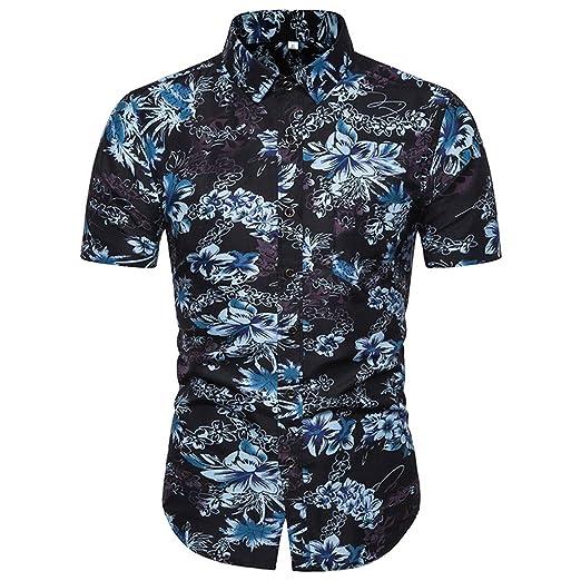 dbe918e7 Mens Stylish Floral Short Sleeve Shirt Slim-Fit Printed Hawaiian T-Shirt  Cotton Button